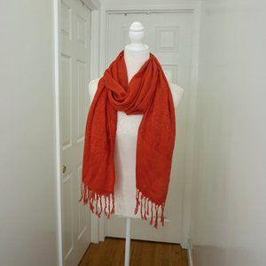 Coral Pashmina Scarf Wrap with Fringe (OS)